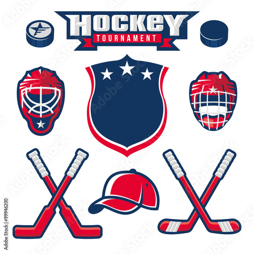 fototapeta na drzwi i meble Hockey logo, emblem, label, badge design elements