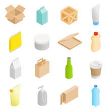 Packaging Isometric 3d Icons Set
