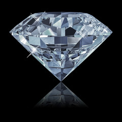 FototapetaBlue diamond isolated on black background 3d