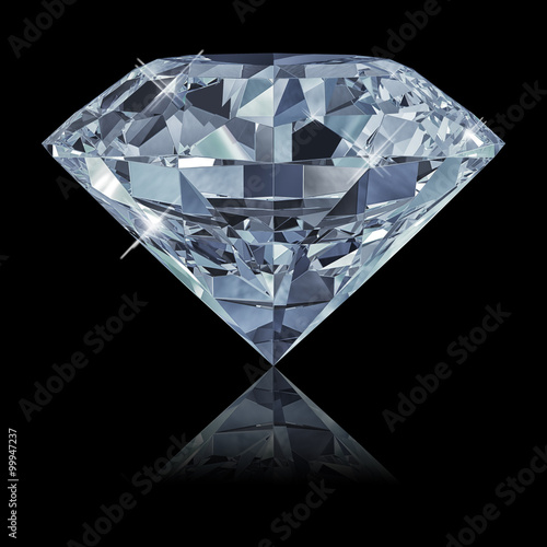 Blue diamond isolated on black background 3d - 99947237