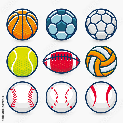 Tablou Canvas Set of Sports Balls.Vector Illustration.