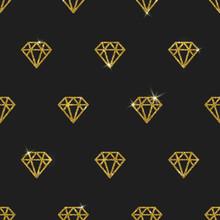 Glitter Gold Diamonds - Vector Seamless Background