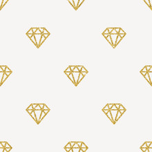 Seamless Vector Background - Glitter Gold Diamonds