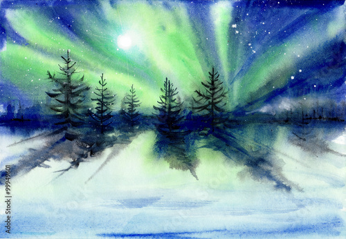 Fotografia, Obraz  Beautiful Aurora landscape background with fir trees forest in far away