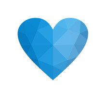 Blue Heart Isolated On White Background.