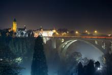 Night Skyline Of Luxembourg Adolphe Bridge