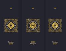 Vector Premium Design - Glitter Gold Monograms