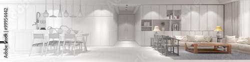 Fotografie, Obraz  Innenarchitekt Loft mit Wohnküche