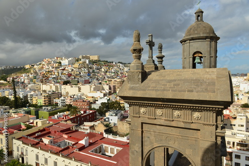 Las Palmas De Gran Canaria, Gran Canary, Spain. Wide angle view of the city from the tower of Santa Anna Cathedral.