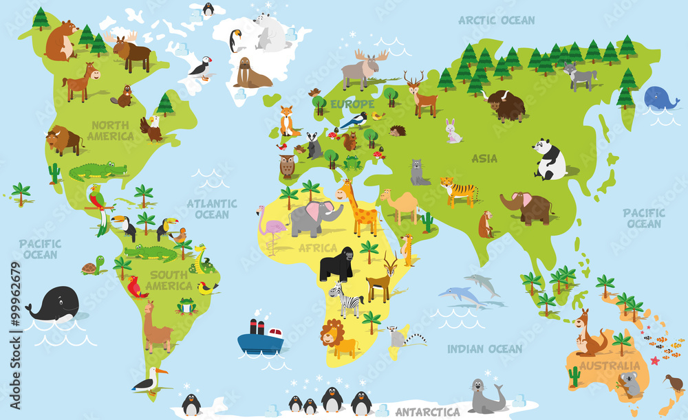 Fototapeta Funny cartoon world map with traditional animals of all the continents and oceans. Vector illustration for preschool education and kids design