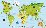 Fototapeta Fototapety na ścianę do pokoju dziecięcego - Funny cartoon world map with traditional animals of all the continents and oceans. Vector illustration for preschool education and kids design