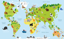 Funny Cartoon World Map With T...
