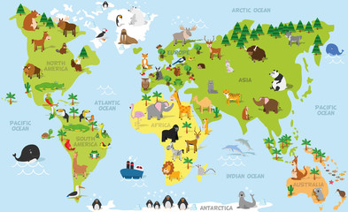 Fototapeta Mapy Funny cartoon world map with traditional animals of all the continents and oceans. Vector illustration for preschool education and kids design