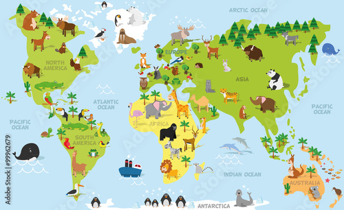 Funny cartoon world map with traditional animals of all the continents and oceans. Vector illustration for preschool education and kids design