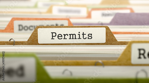 Fotomural  Permits Concept on Folder Register.