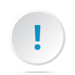 Flat blue Exclamation Mark icon on circle web button on white