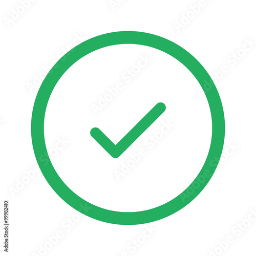 Fotografía  Flat green Confirm icon and green circle