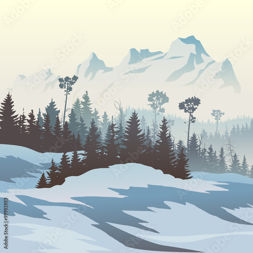 illustration-of-winter-coniferous-forest-with-mountains