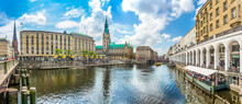 Hamburg City Center With Town Hall And Alster River, Germany