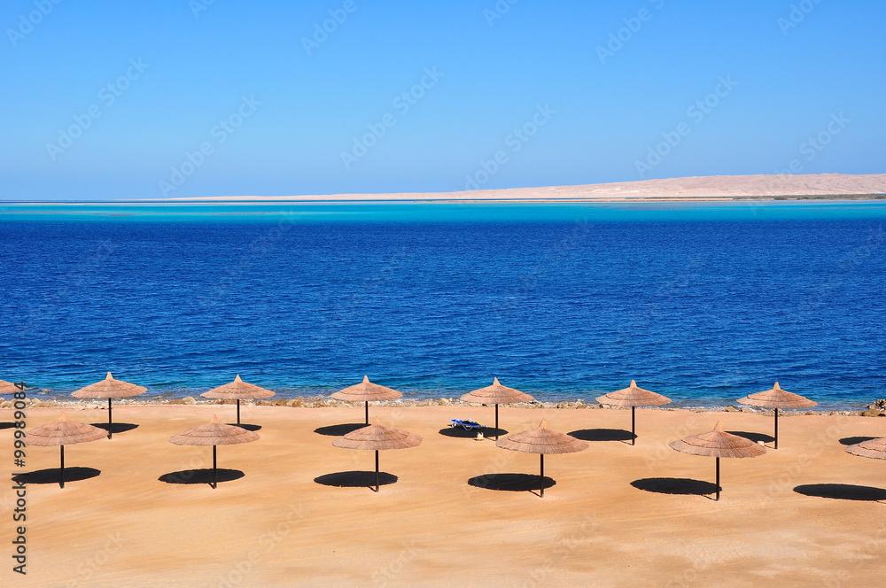 Fototapeta Parasols at Red Sea,Hurghada.