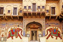 Frescoed Havelis In Mandawa, Traditional Ornately Decorated Residence, India. Rajasthan