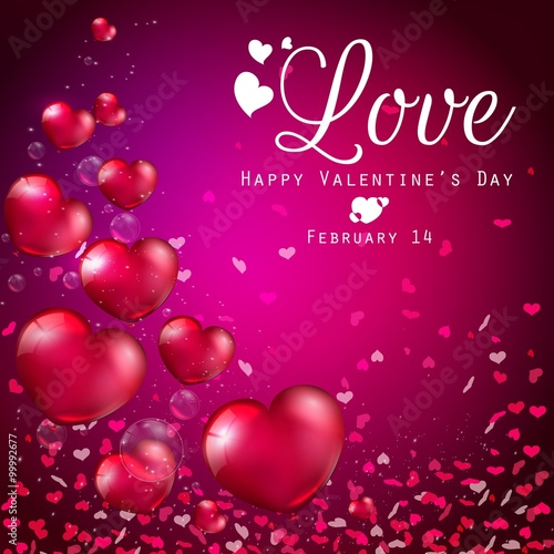 Transparent Red Heart Balloons On Purple Background