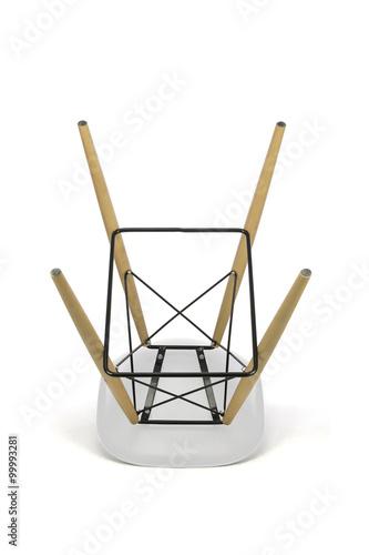 Awe Inspiring White Plastic Bar Stool With Wooden Legs On White Background Short Links Chair Design For Home Short Linksinfo