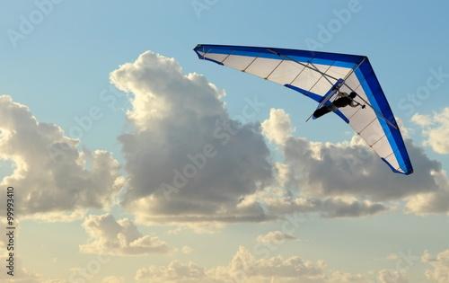 Spoed Fotobehang Luchtsport Hang Glider flying in the sky on blue day