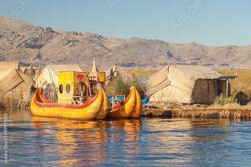 Reed boat on Island of Uros lake Titicaca Peru and Bolivia.