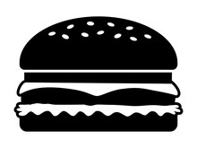 Hamburger / Cheeseburger Flat Icon For Food Apps And Websites