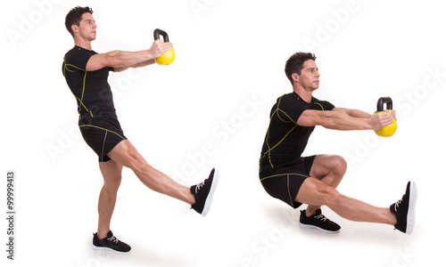 Kettlebell, Pistol Squat, Exercise - Buy this stock photo and