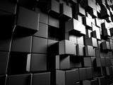 Abstract Dark Metallic Cubes Wall Background