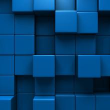 Blue Blocks Wall Geometric Background