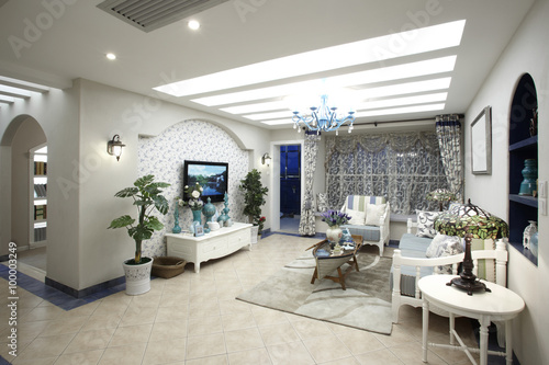Mediterranean-style living room interiors - Buy this stock ...