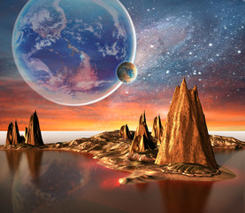 Alien Planet With Earth Moon And Mountains