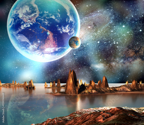 Wall Murals Photo of the day Alien Planet With Earth Moon And Mountains