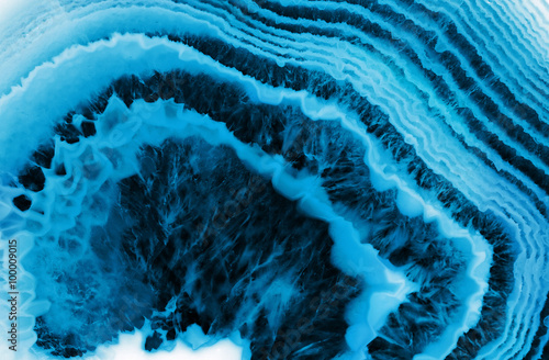Photo sur Toile Cristaux blue agate macro background