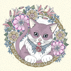 Fototapeta Kot adorable kitty coloring page