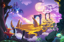 Illustration: It Must Be The Portal To The Castle In The Air. We Need To Get There By The Broken Bridge. Realistic Fantastic Cartoon Style Artwork Scene, Wallpaper, Game Story Background, Card Design