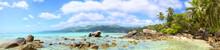 Tropical Beach Panorama With Palms And Rocks, Mahe Island, Seychelles