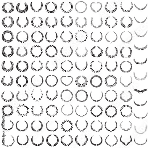 Photo  Set of one hundred and one silhouettes of laurel wreaths, vector illustration