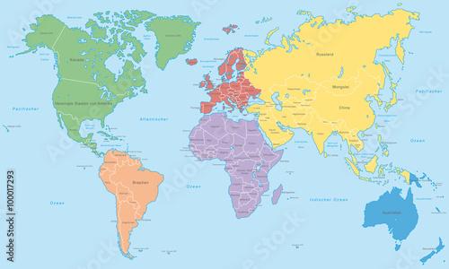 Fototapeta  Weltkarte - Kontinente in Farbe (hoher Detailgrad)