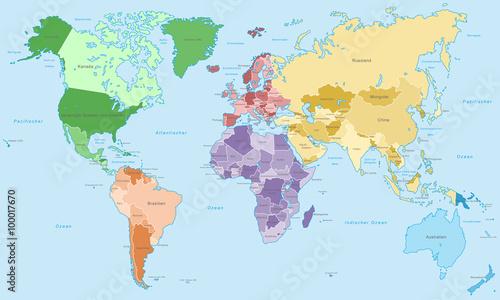 Photo  Weltkarte - einzelne Kontinente in Farbe (hoher Detailgrad)