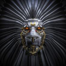 Hear Me Roar / 3D Render Of Metallic Robot Lion