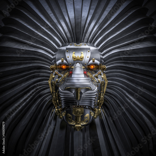 Hear Me Roar / 3D render of metallic robot lion Wallpaper Mural