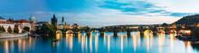 Night Panorama Scene With Charles Bridge In Prague, Czech Republ