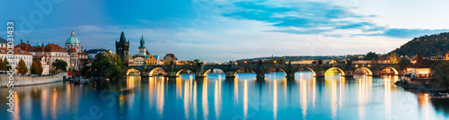 Ingelijste posters Praag Night panorama scene with Charles Bridge in Prague, Czech Republ