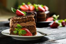 Chocolate Cake With Fresh Stra...