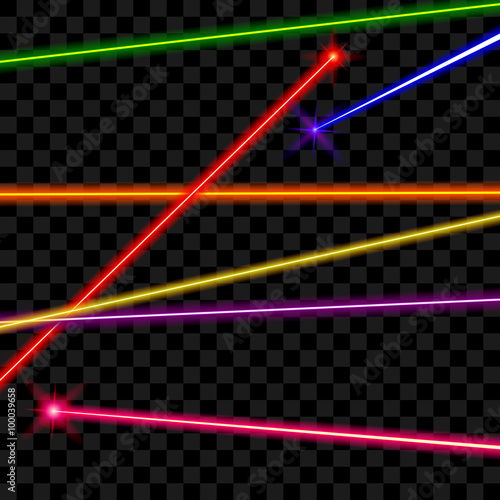 Vector laser beams on transparent plaid background. Ray energy, shiny line, bright color illustration Wall mural