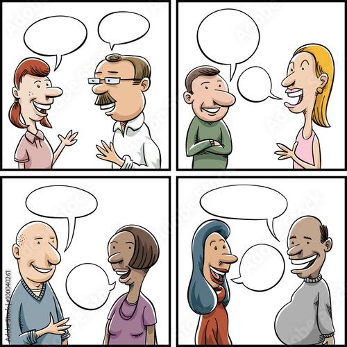 Raznolika skupina moških in žensk, s katerimi se pogovarjajo-2785